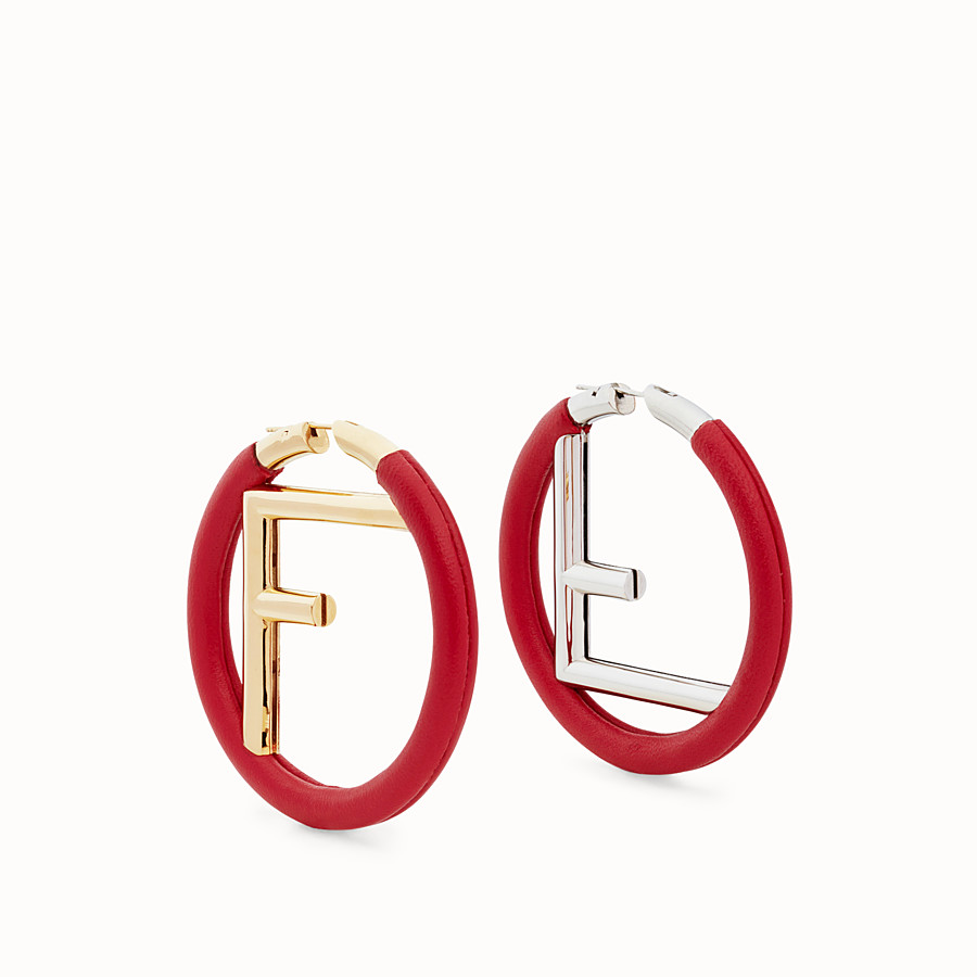 FENDI F IS FENDI EARRINGS - Red nappa leather earrings - view 1 detail