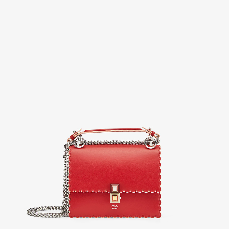 FENDI KAN I SMALL - Red leather mini-bag - view 1 detail