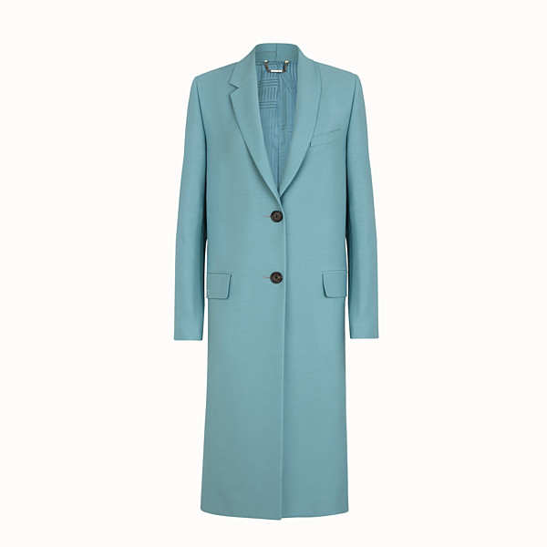 FENDI COAT - Light blue kid mohair coat - view 1 small thumbnail