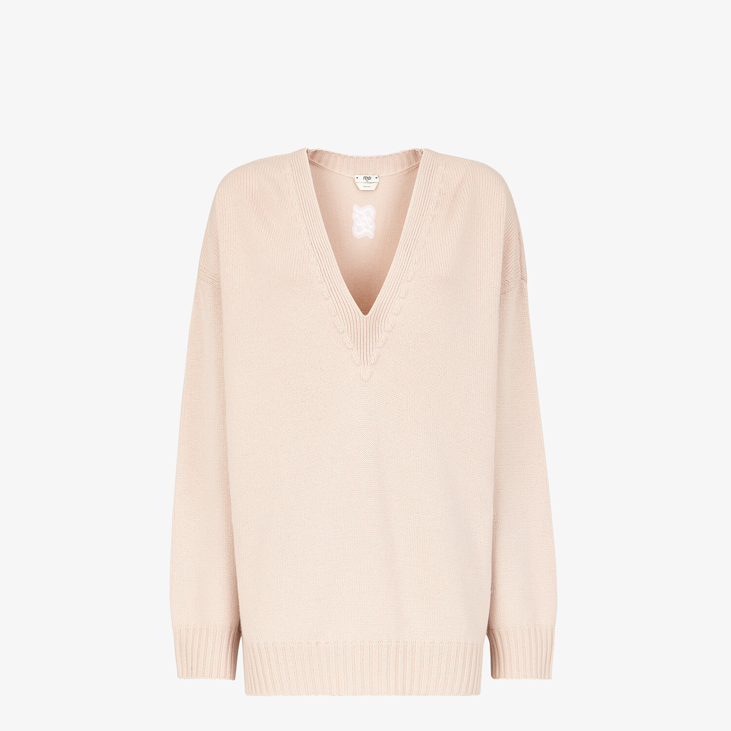 FENDI SWEATER - Pink cashmere sweater - view 1 detail