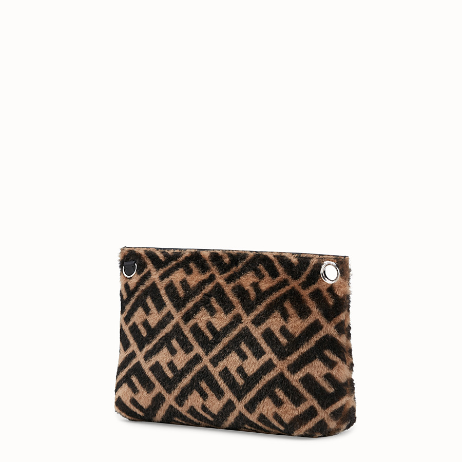 FENDI LARGE PYRAMID POUCH - Multicolor shearling pouch - view 2 detail