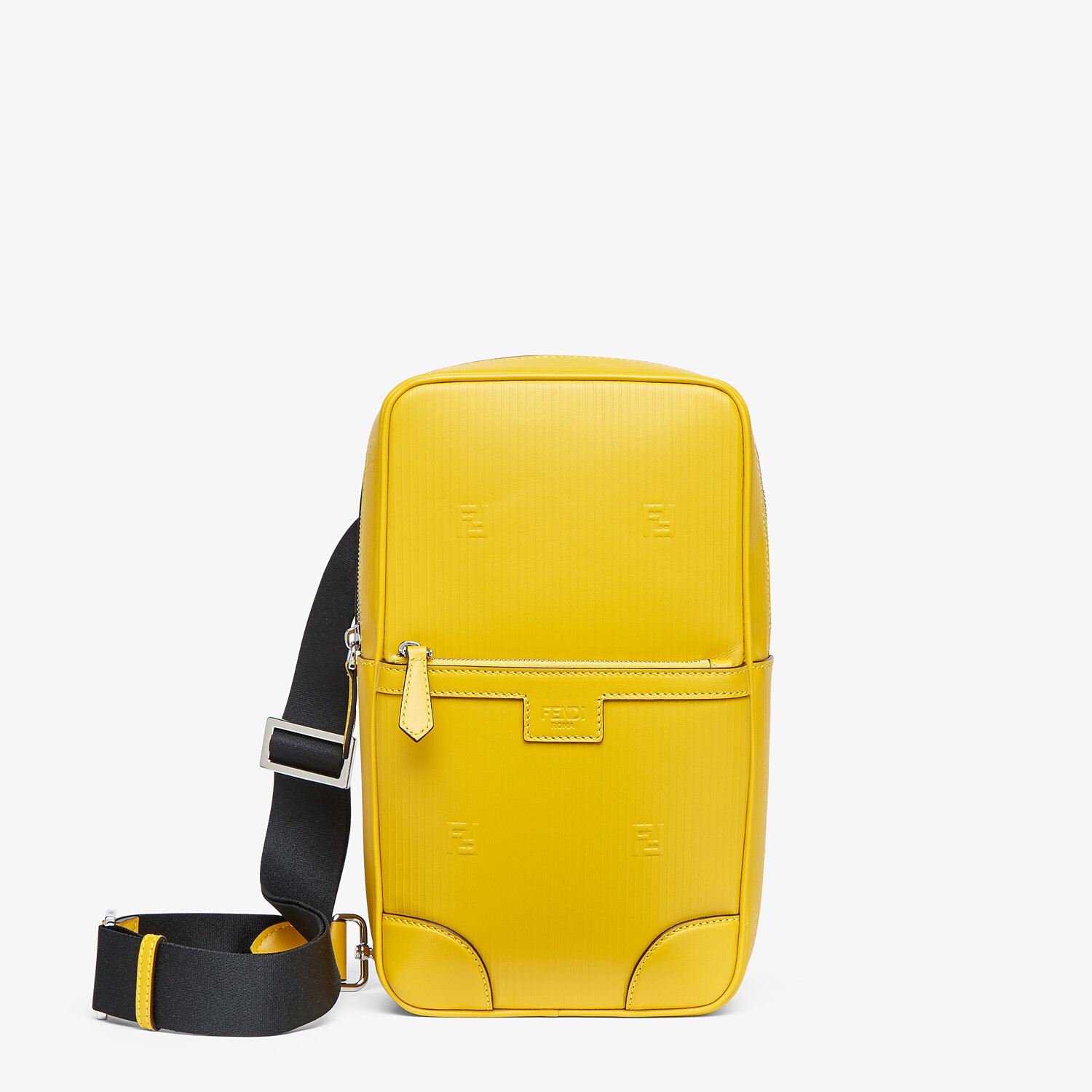 FENDI ONE-SHOULDER TRAVEL BACKPACK - Yellow leather backpack - view 1 detail