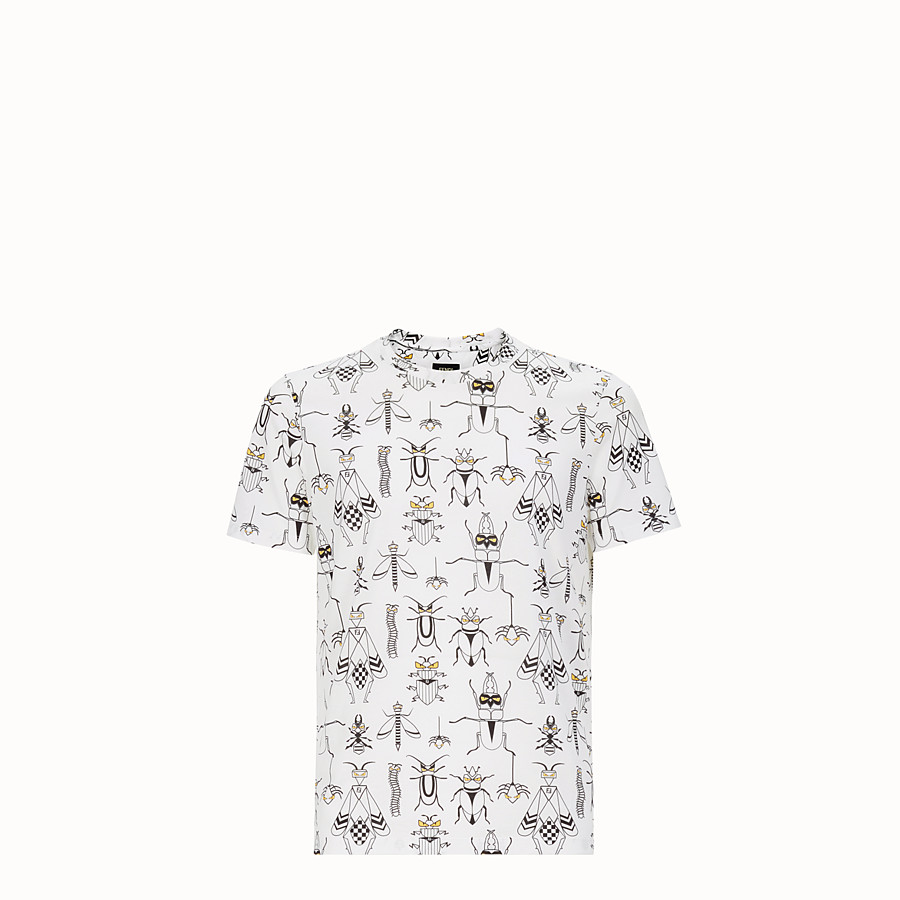 FENDI T-SHIRT - White cotton jersey T-shirt - view 1 detail