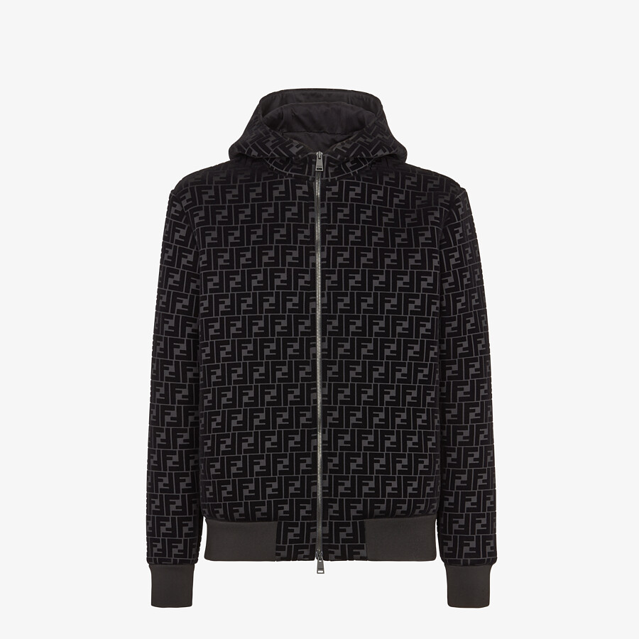 FENDI BLOUSON JACKET - Black jersey sweatshirt - view 1 detail