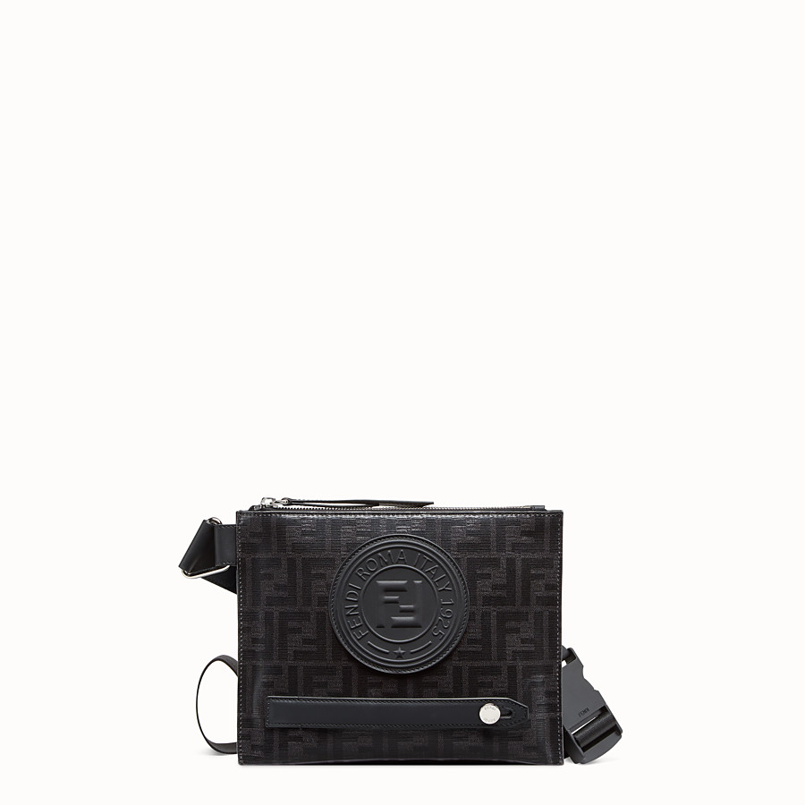 FENDI MESSENGER - Black fabric pochette - view 1 detail