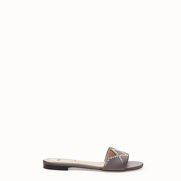 FENDI SLIDES - Grey satin slides - view 1 small thumbnail