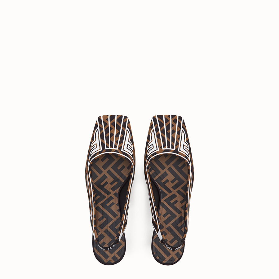 FENDI COURT SHOES - Slingbacks in brown fabric - view 4 detail