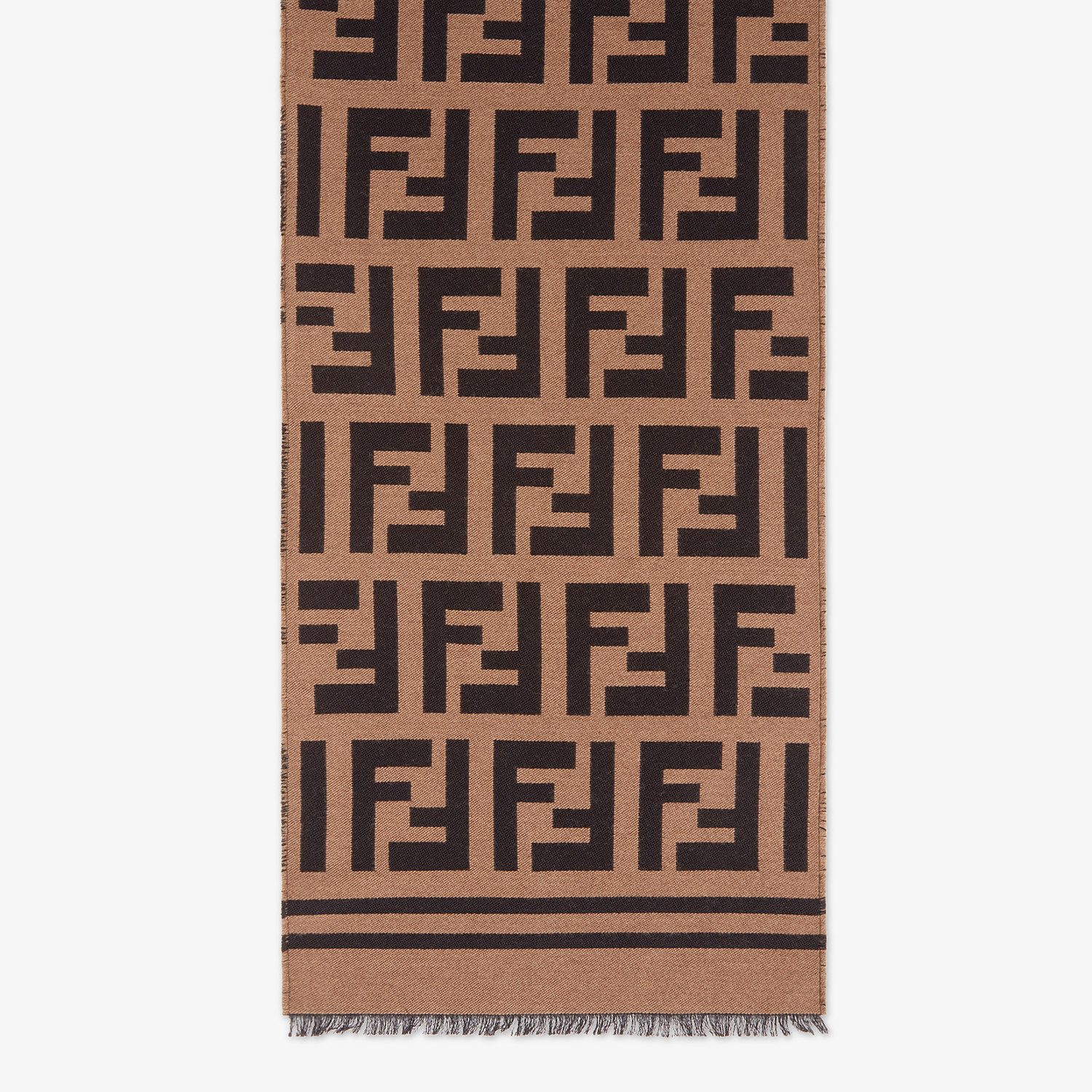 FENDI SCARF - Beige wool and silk scarf - view 1 detail