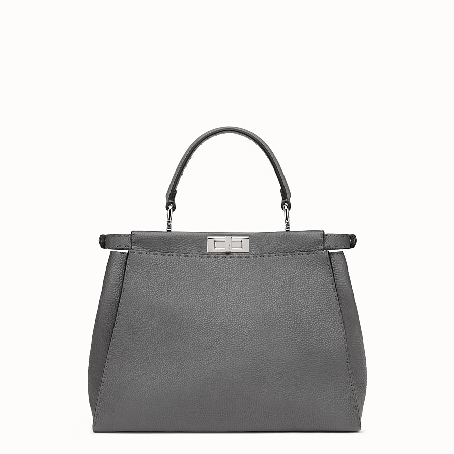 FENDI PEEKABOO ICONIC MEDIUM - Handbag in grey Roman leather - view 3 detail