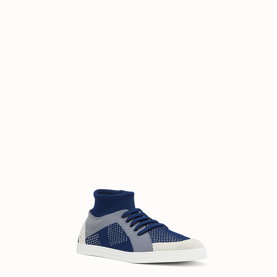 FENDI SNEAKERS - Blue and white knit slip-ons - view 2 detail