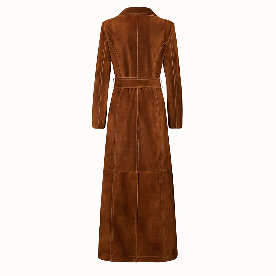 FENDI OVERCOAT - Brown suede trench coat - view 2 detail