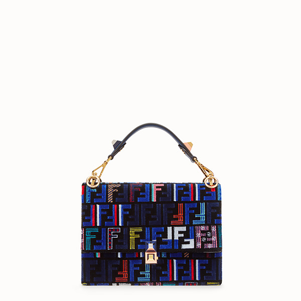FENDI KAN I - Blue leather and silk bag - view 1 small thumbnail