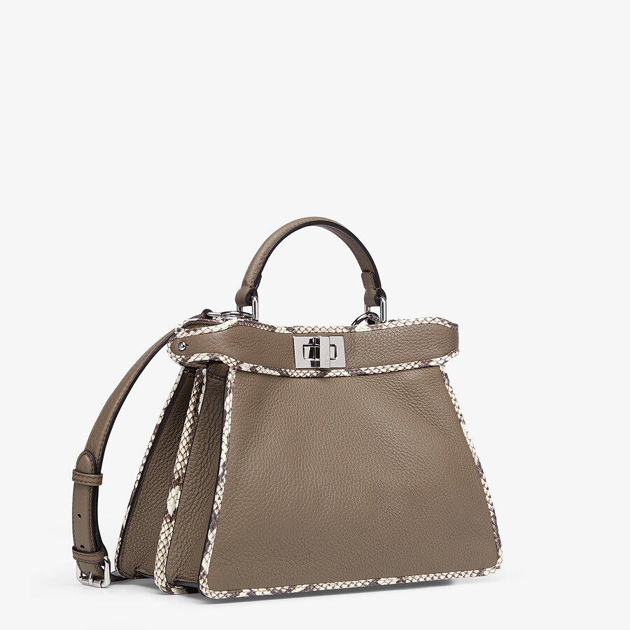 FENDI PEEKABOO ISEEU SMALL - Gray full grain leather and elaphe bag - view 2 detail