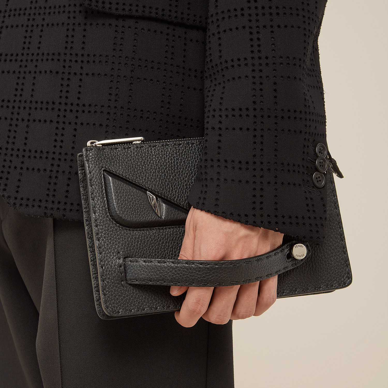 FENDI CLUTCH - in black Roman leather - view 6 detail