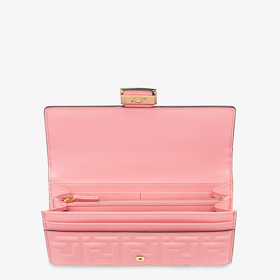 FENDI CONTINENTAL - Pink nappa leather wallet - view 3 detail