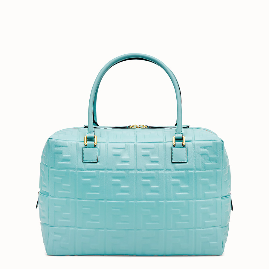 FENDI BOSTON LARGE - Pale blue leather Boston bag - view 4 detail