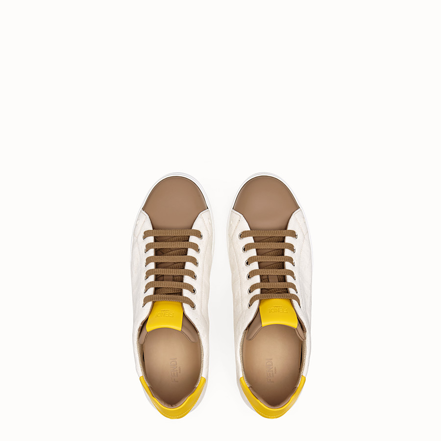 FENDI SNEAKERS - Multicolour canvas and leather low-tops - view 4 detail