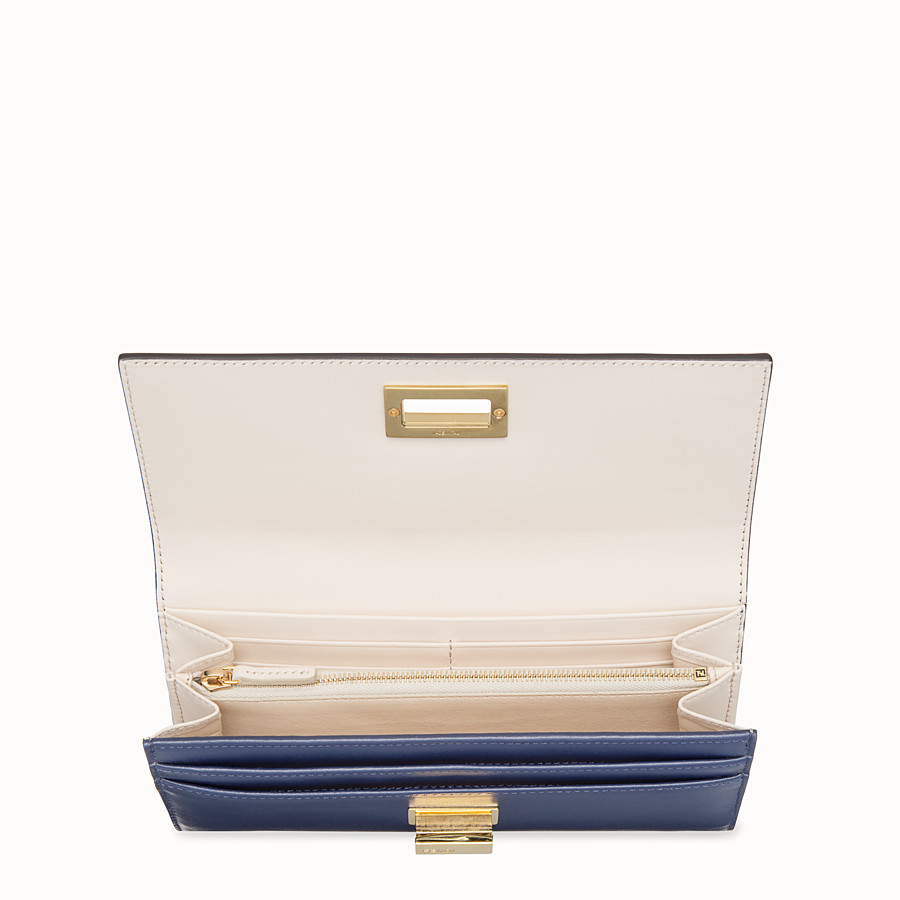 FENDI CONTINENTAL - Blue leather wallet - view 4 detail