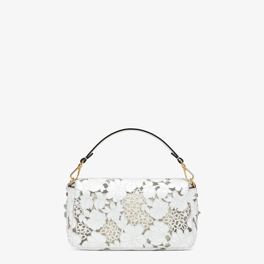 FENDI BAGUETTE - Embroidered white patent leather bag - view 4 detail