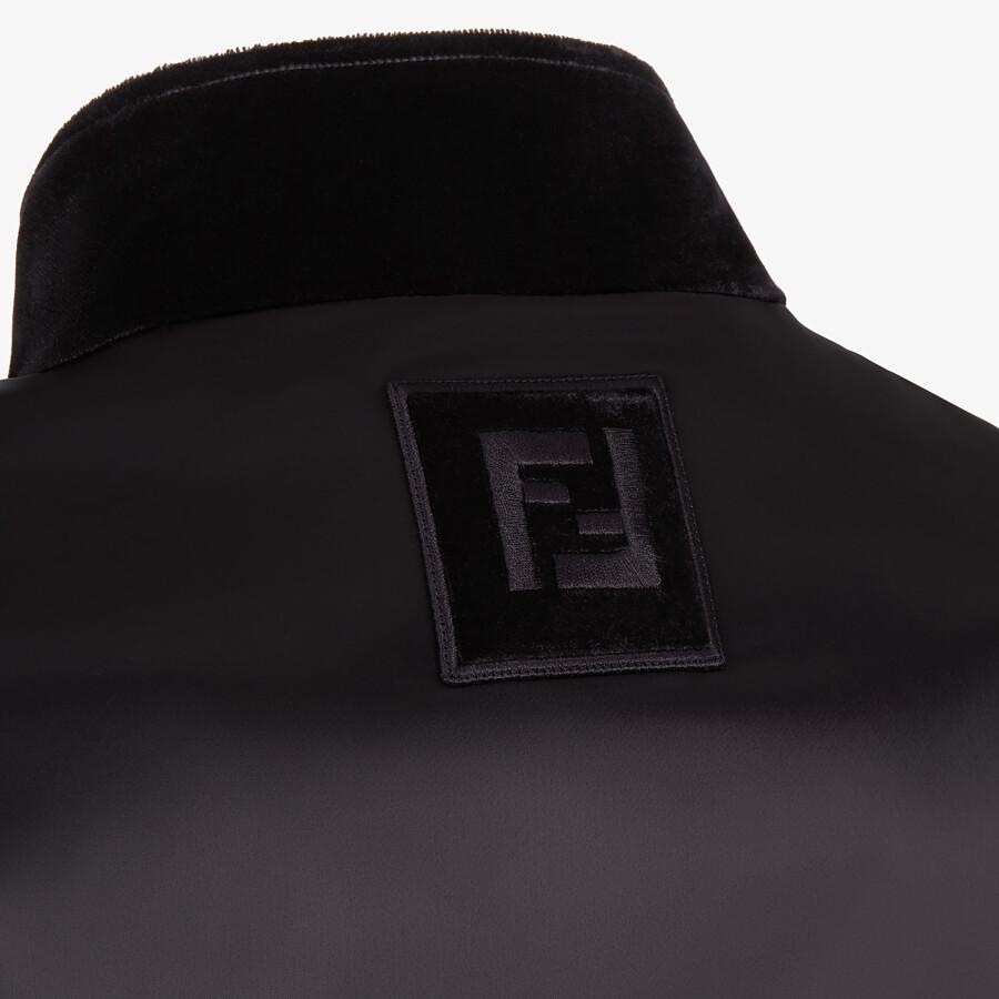 FENDI JACKET - Black tech fabric and velvet windbreaker - view 3 detail