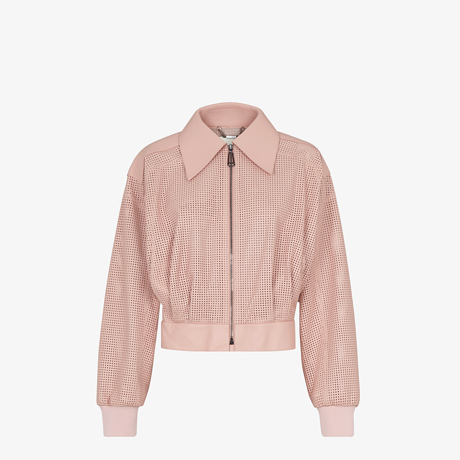 FENDI JACKET - Pink leather jacket - view 1 detail