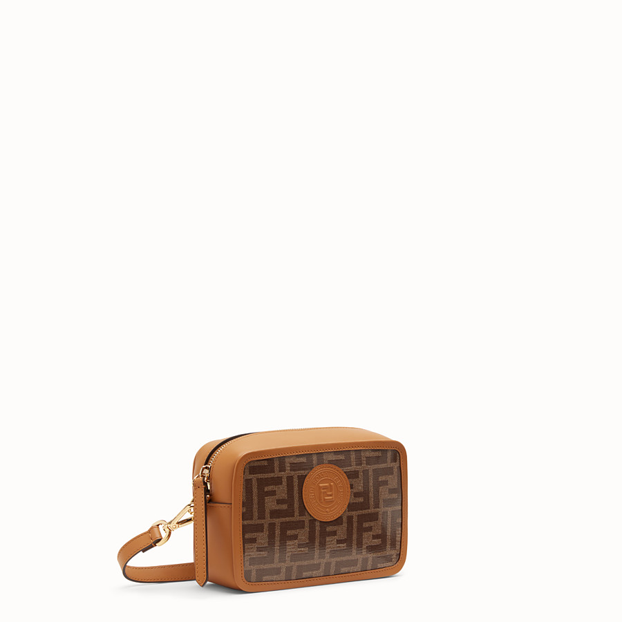 FENDI MINI CAMERA CASE - Brown canvas bag - view 2 detail