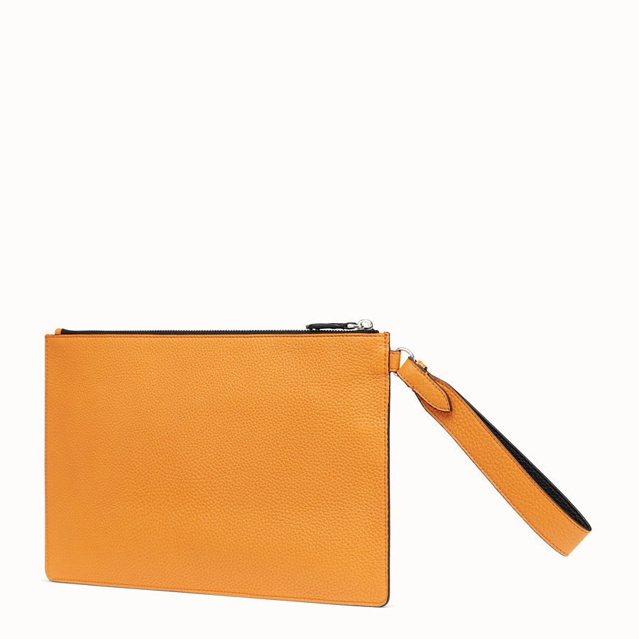 FENDI POUCH - Orange leather pochette - view 2 detail