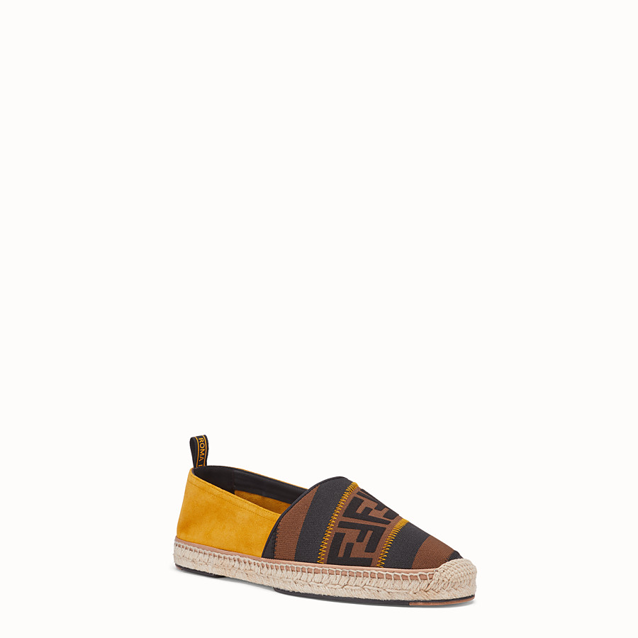 FENDI ESPADRILLES - Yellow split leather espadrilles - view 2 detail