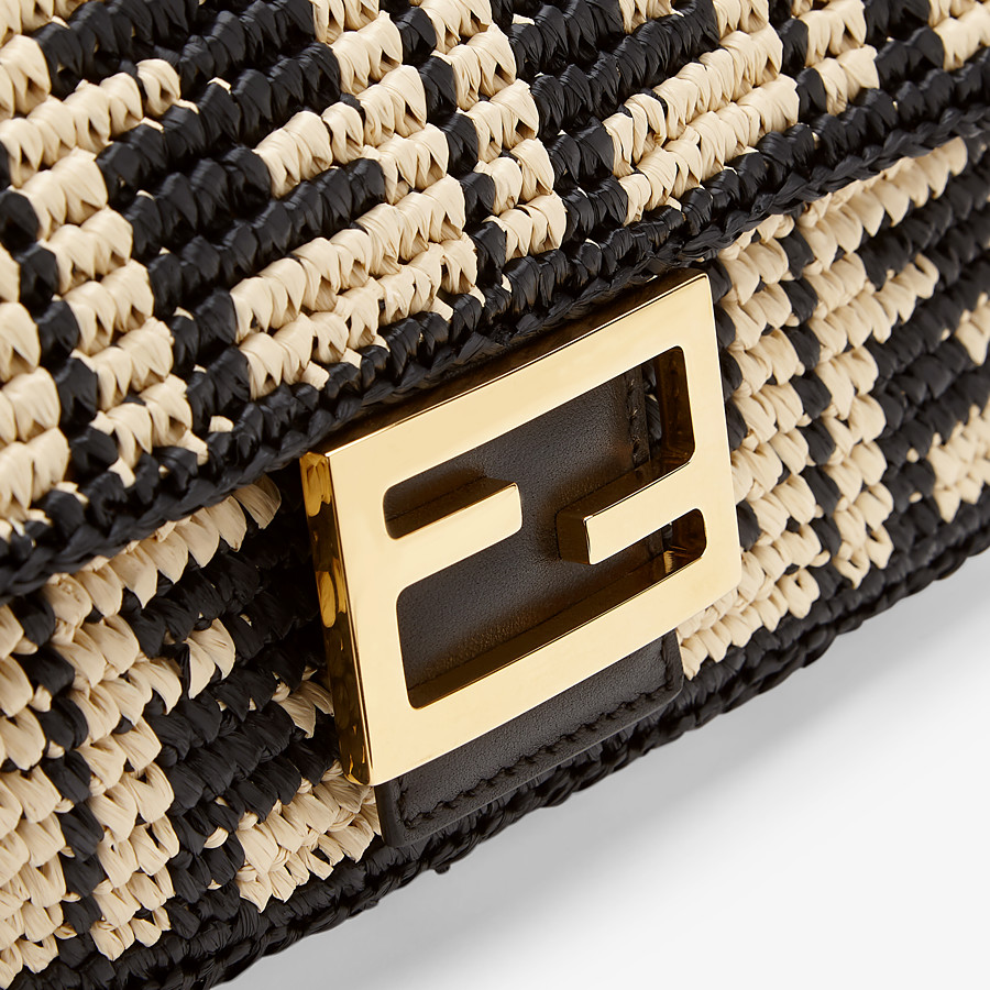 FENDI BAGUETTE - Black raffia FF bag - view 6 detail
