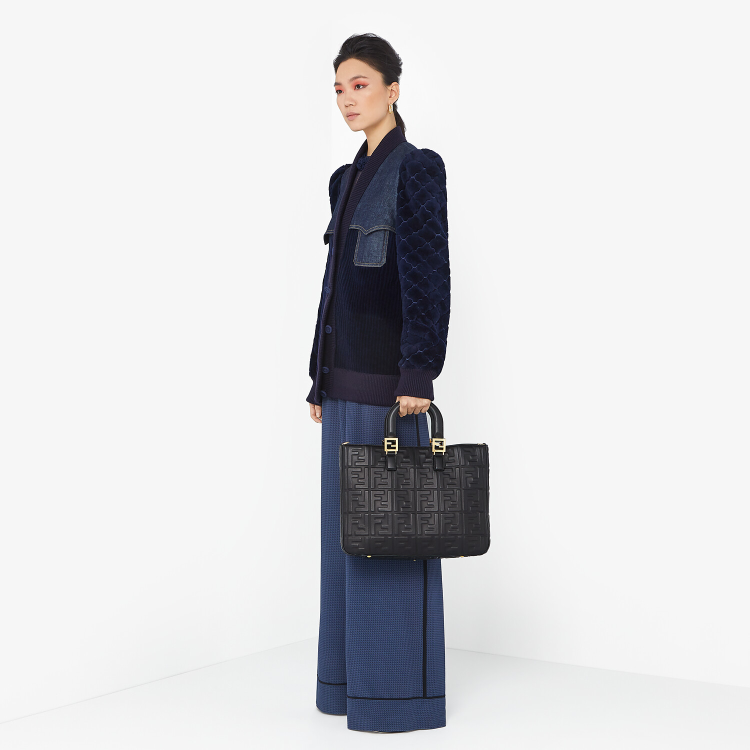 FENDI JACKET - Blue shearling and denim jacket - view 4 detail