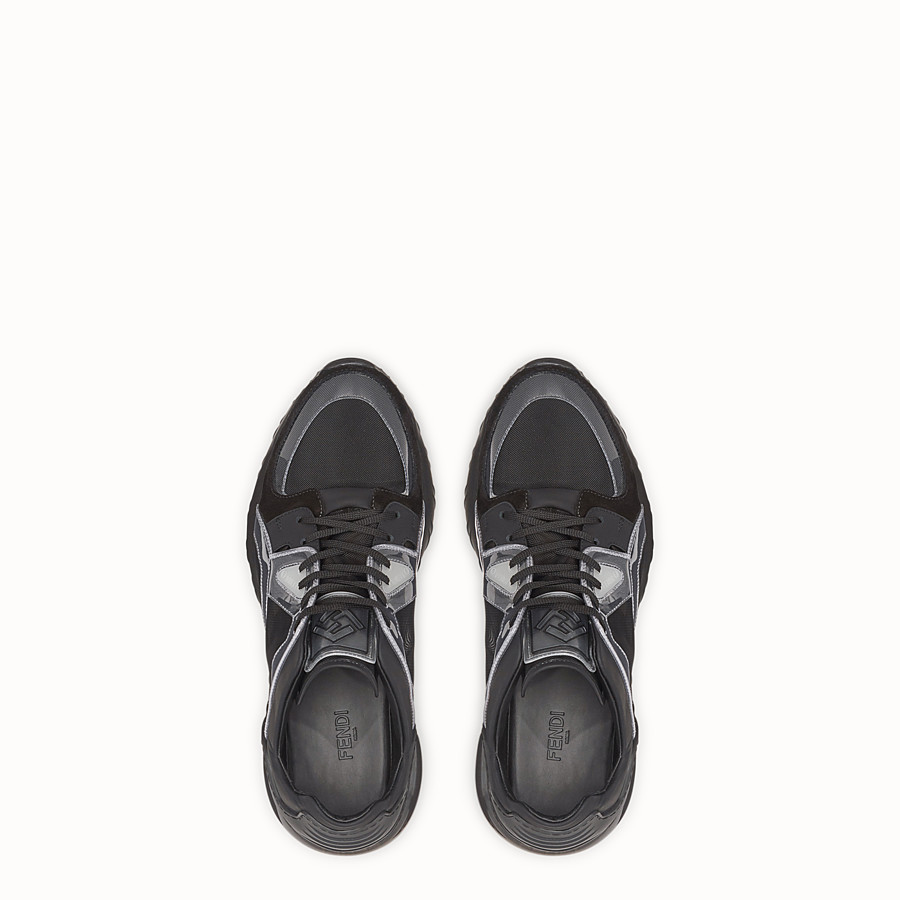 FENDI SNEAKERS - Black leather sneakers - view 4 detail