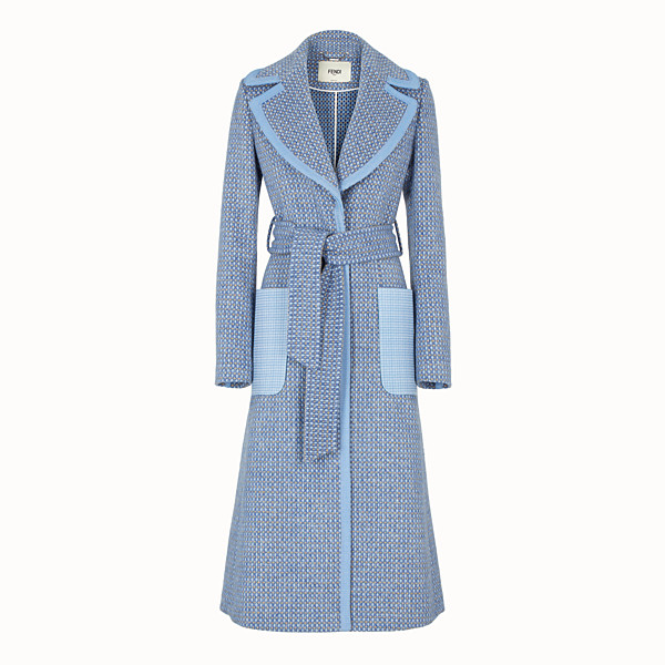 FENDI OVERCOAT - Pale blue wool trench coat - view 1 small thumbnail