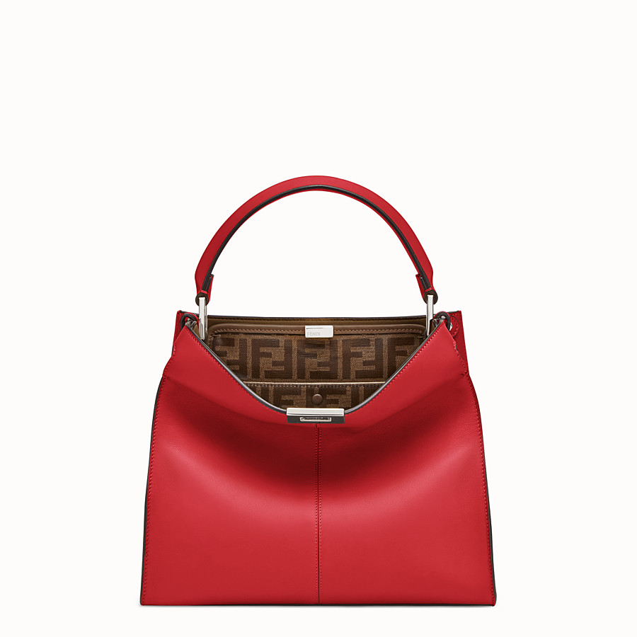 FENDI PEEKABOO X-LITE REGULAR - Red leather bag - view 2 detail