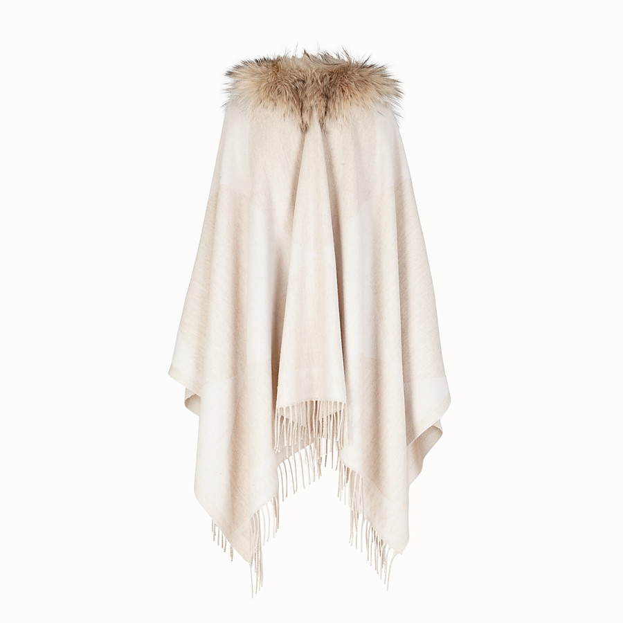 FENDI TOUCH OF FUR PONCHO - White wool poncho - view 2 detail