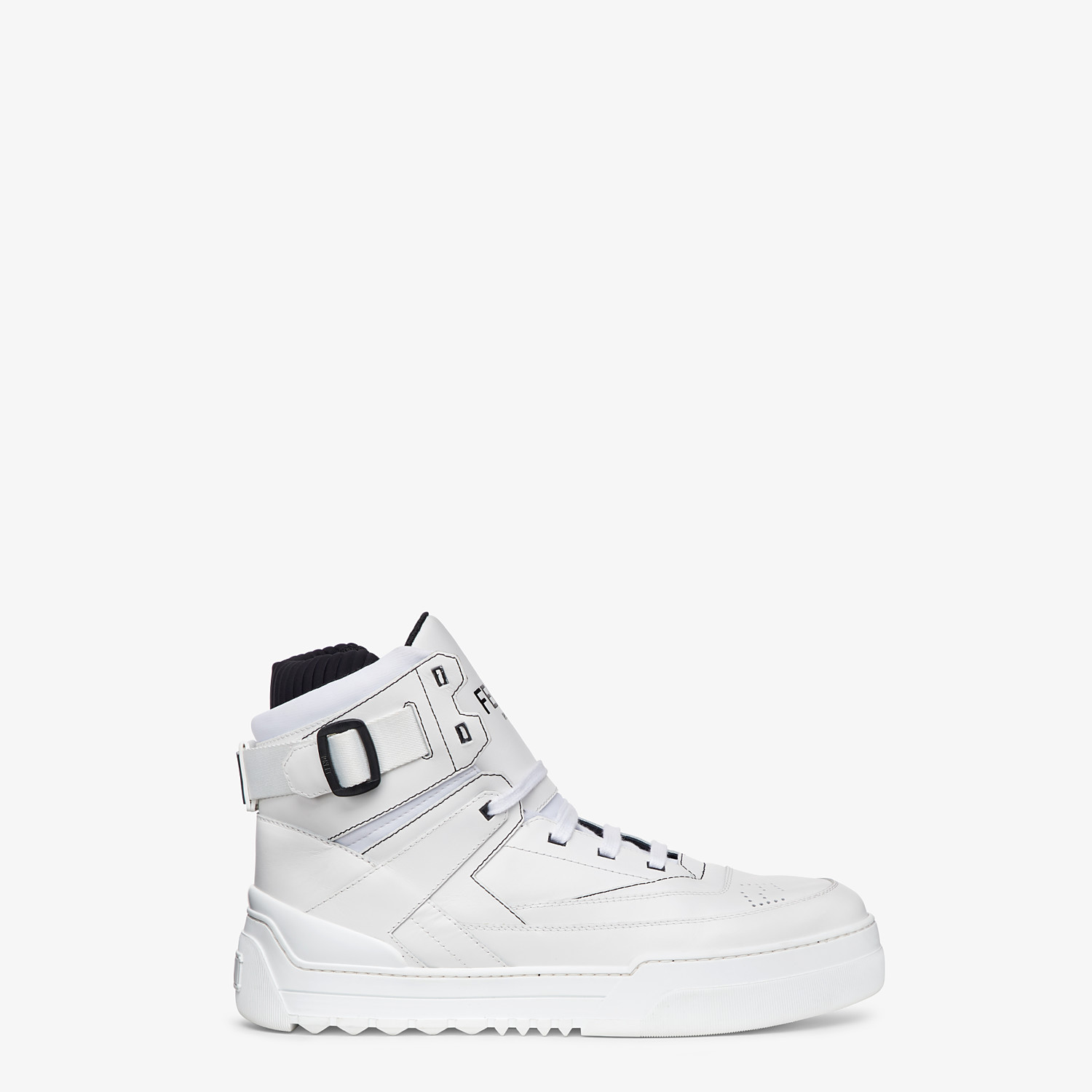 FENDI SNEAKERS - White leather high-tops - view 1 detail