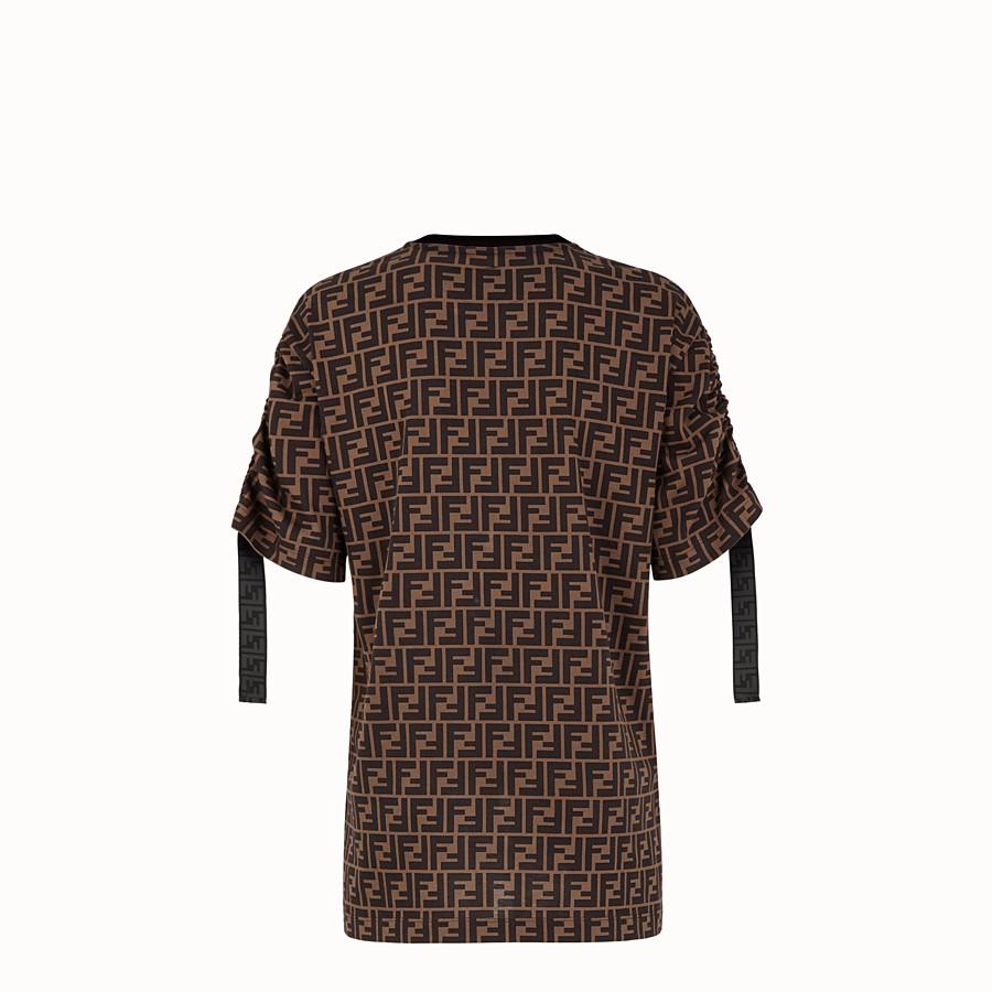FENDI T-SHIRT - Brown cotton jersey T-shirt - view 2 detail