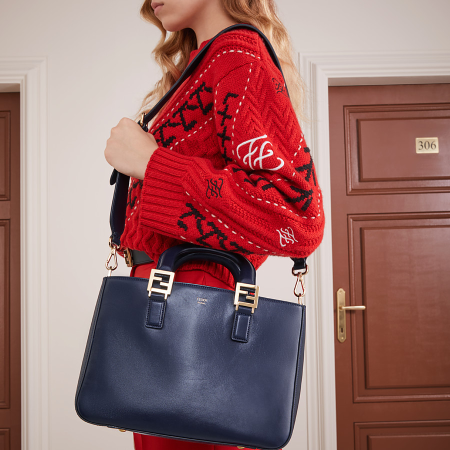 FENDI FF TOTE SMALL - Blue leather bag - view 2 detail