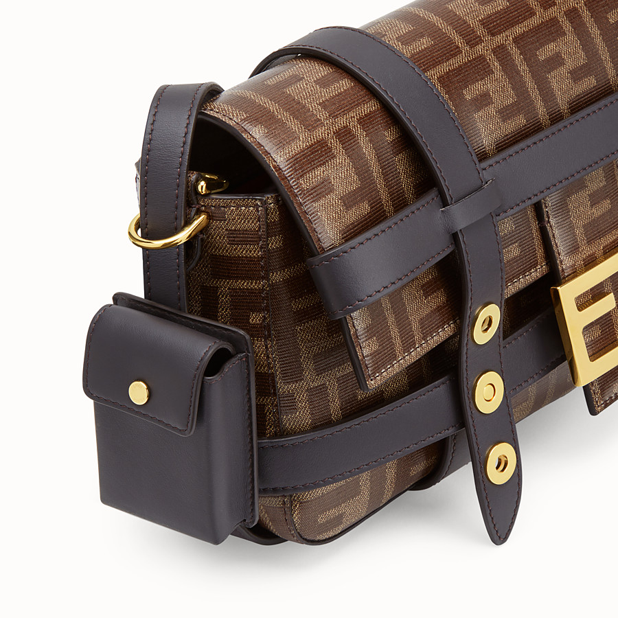 FENDI BAGUETTE WITH CAGE - Brown fabric bag - view 7 detail