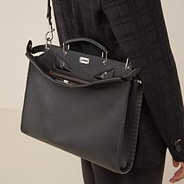 FENDI PEEKABOO ICONIC FIT - Black leather bag - view 5 thumbnail