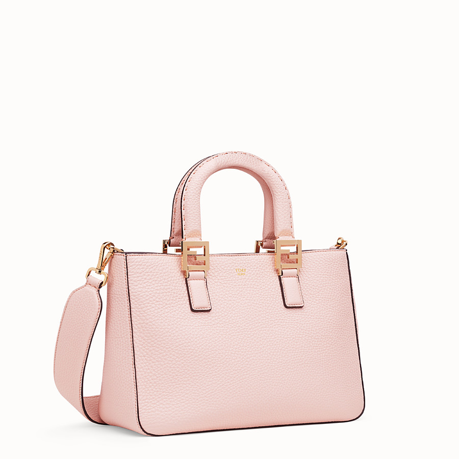 FENDI FF TOTE SMALL - Pink leather bag - view 3 detail