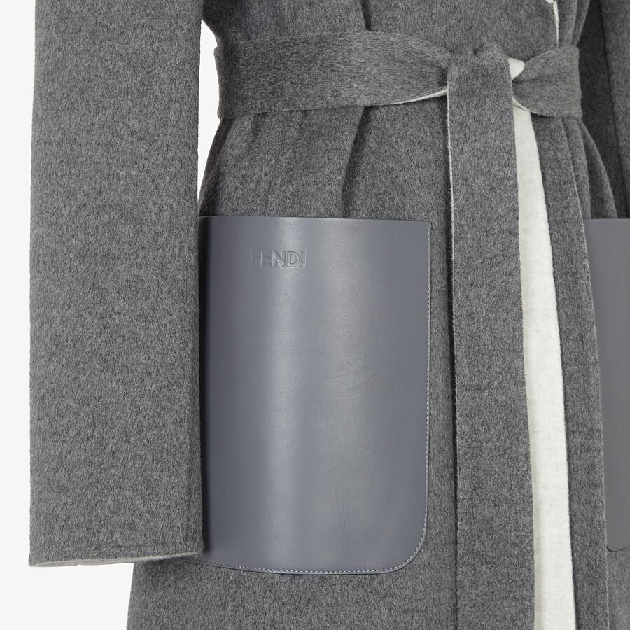 FENDI COAT - Gray double-sided cashmere coat - view 3 detail