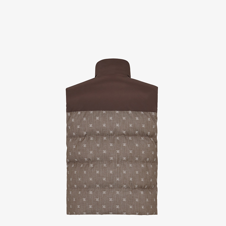 FENDI GILET - Brown jacquard fabric gilet - view 2 detail
