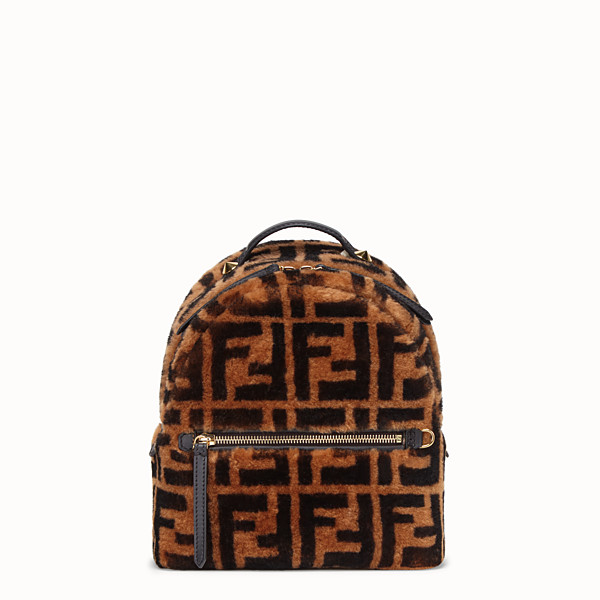 FENDI MINI BACKPACK - Small backpack in brown sheepskin - view 1 small thumbnail