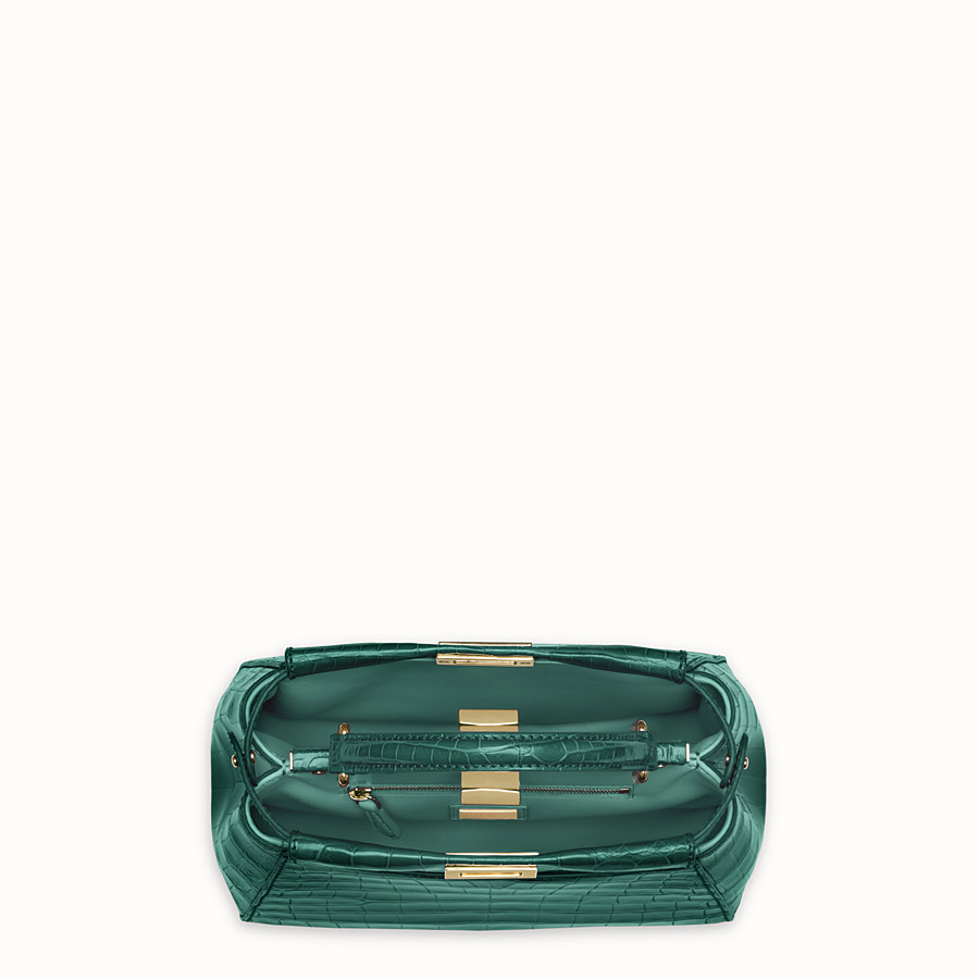 FENDI PEEKABOO MINI - Green crocodile leather handbag. - view 4 detail