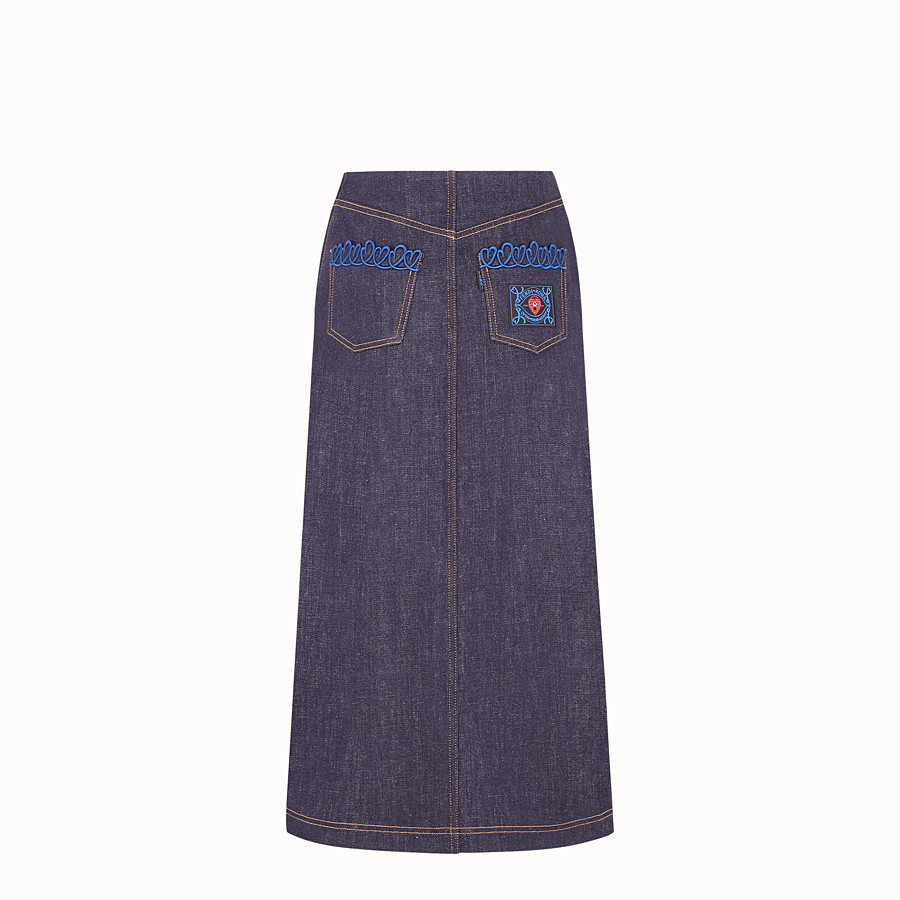 FENDI SKIRT - Blue denim skirt - view 2 detail