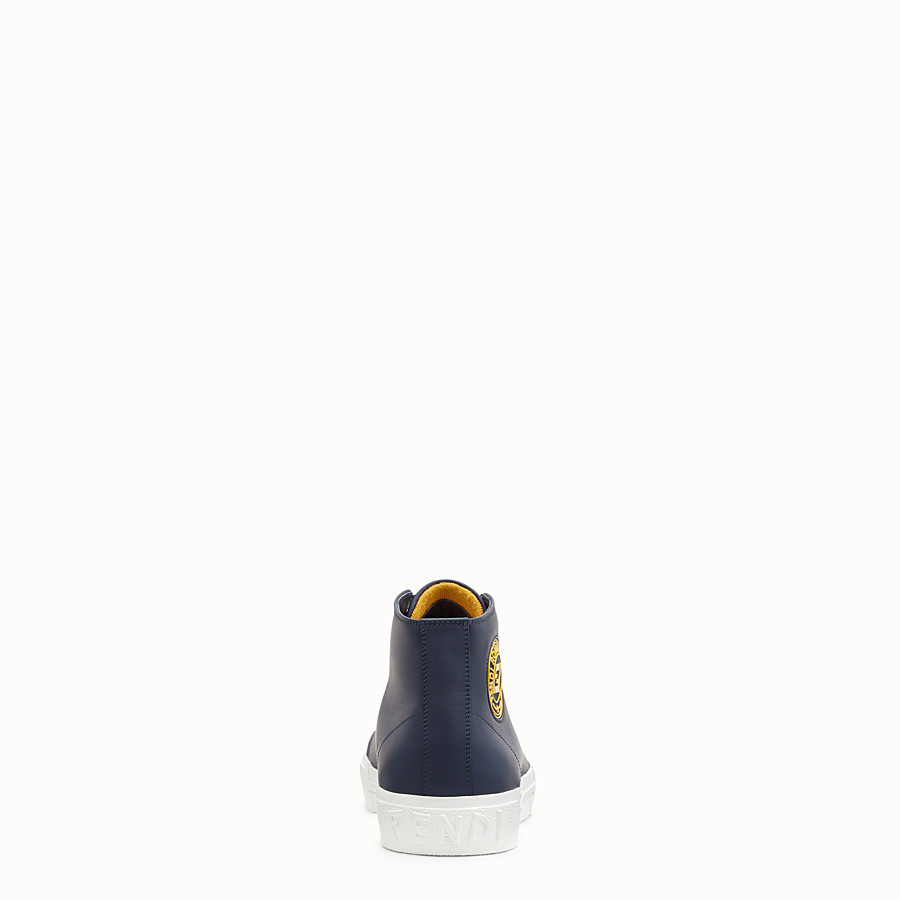 FENDI SNEAKERS - Blue leather high-tops - view 3 detail