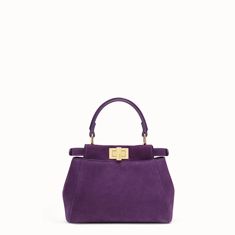 FENDI PEEKABOO ICONIC XS - Purple suede mini-bag - view 3 detail