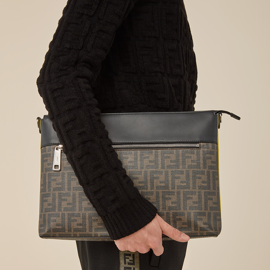 FENDI MESSENGER - Brown fabric slim pouch - view 5 detail