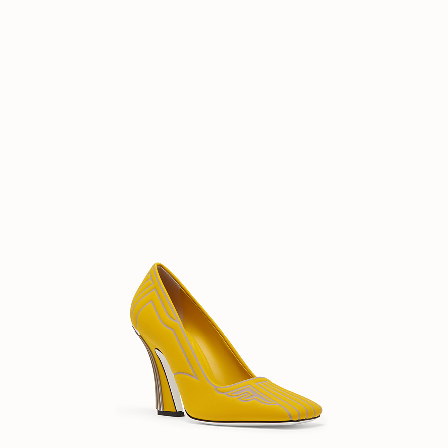 FENDI PUMPS - Pumps in yellow fabric - view 2 detail
