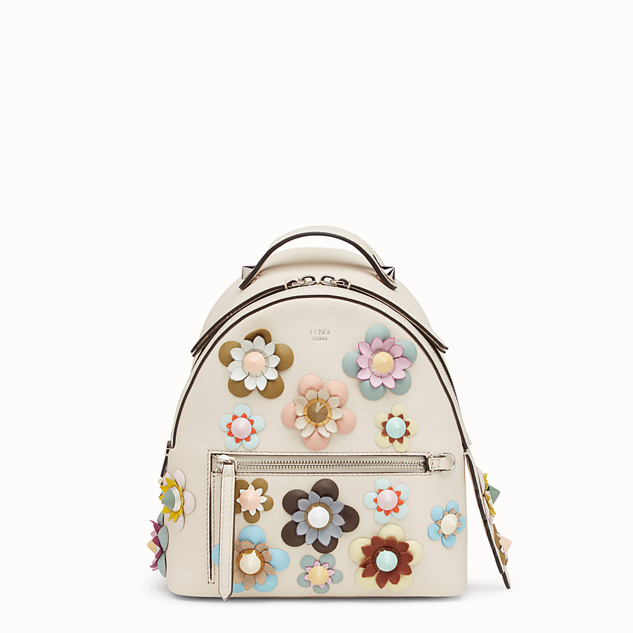 FENDI 背包 - 白色皮革,綴有花朵 - view 1 detail